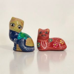 Set of two hand painted in Mexico ceramic cats